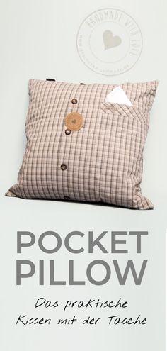 So ein Kissen mit Tasche ist wirklich praktisch. Eine kreative Geschenkidee für alle Lieblingsmenschen - als Geschenk zum selber machen oder online bestellen. #Kissen #Pocket #Pillow #Geschenkidee