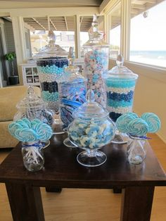 blue candy table - I would like to do this in pink may for sweet sixteen party! Shower Party, Baby Shower Parties, Baby Shower Themes, Baby Shower Decorations, Shower Ideas, Shower Favors, Table Decorations, Baby Showers, Shower Cake