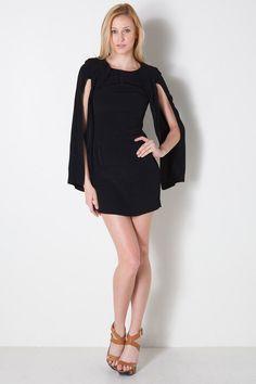 Split Sleeve Cape Dress in Black by Shakuhachi for $227.00
