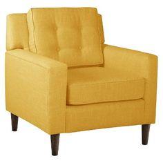 Skyline Custom Upholstered Arm Chair - Linen French Yellow