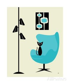 Mid Century Modern Cat in Turquoise Egg Chair I 写真プリント