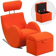 Flash Furniture Hercules Series Fabric Rocking Chair with Storage Ottoman, Multiple Colors, Orange