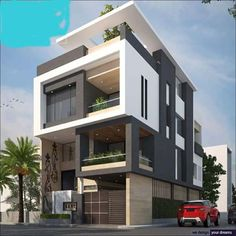 The modern home exterior design is the most popular among new house owners and those who intend to become the owner of a modern house. Bungalow House Design, House Front Design, Modern House Design, Facade Design, Exterior Design, Modern Architecture House, Architecture Design, Casa Retro, Bungalow Exterior
