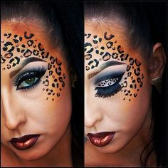 Cheetah Halloween makeup. @Leslie Lippi Lippi Lippi Riemen Guidry I want you to do this for me on Halloween!