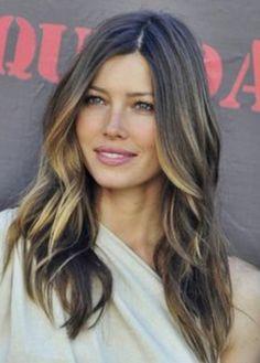 Jessica Biel gorgeous hair ombré stuble