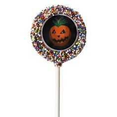 """#The """"Jack O"""" lollipop treat Chocolate Covered Oreo Pop - #halloween #party #cookies #sweets #goodies"""