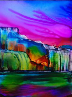 Alcohol Ink Art. Painting.  Rainbow Falls. by KCsCornerGallery, $28.00