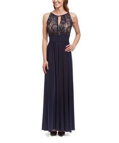 Navy & Taupe Ruched Lace Keyhole Gown - Women