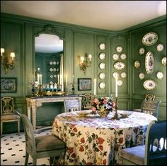 gorgeous green dinning room