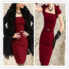 Clearance : red wool elegant dress free belt final clearance ghl0018