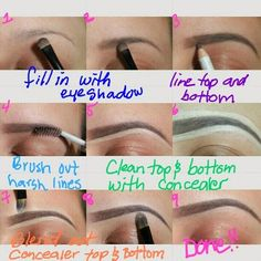 Making sculpted, full eyebrows (all you need it a matte shadow matching or 1 shade darker than your hair color, coordinating solid liner, concealer, and time)