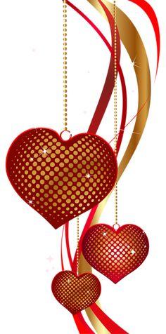 Valentine's Day Decorative Hearts PNG Clip Art Image