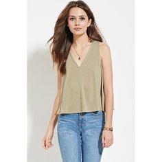 ce43f5f1ae93ff Love 21 Women s Contemporary V-Neck Top ( 9.90) ❤ liked on Polyvore  featuring