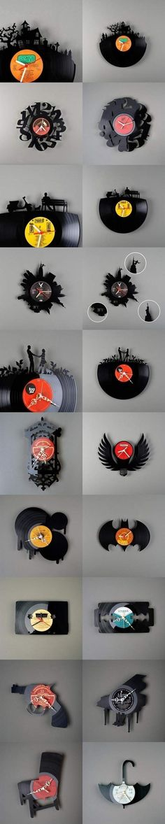 Clocks clocks clocks made of vinyl records