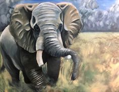 Senior oil painting for the Ambitious Assignment which is an independent project. Painting Lessons, Art Lessons, School Painting, High School Art, Printmaking, Elephant, Oil, Projects, Animals