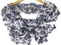 women silk chiffon scarf, fashion scarf, with handmade OYA lace, gift ideas, 2013 trends, accessory, Oya scarf, for her. $30.00, via Etsy.