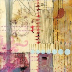 Lorraine Glessner, collage, fiber, encaustic beautiful composition, colours, texture, patter love dd