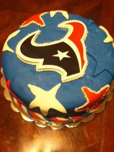Houston Texans Birthday Cake Covered In Fondant