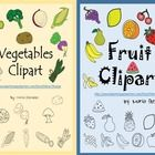 Fruits and Vegetables Clipart  There are 44 graphics in all. This set includes: 22 color and 22 line art (black and white).  apple (2) strawberry (...