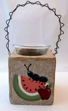 Watermelon Ant Square Candle Holder, Hand Painted, summer candle, tealight candle, kitchen decor, decorative candle, home decor on Etsy, $8.50