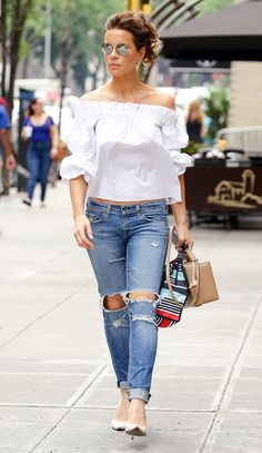 Kate Beckinsale in a white off-the-shoulder top and ripped jeans - click ahead for more summer outfit ideas from celebrities