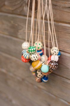 These hand painted, wooden bead necklaces are a playful way to add color and pattern to your wardrobe. They are light and comfortable and a look great worn alon Ceramic Jewelry, Clay Jewelry, Jewelry Crafts, Beaded Jewelry, Handmade Jewelry, Jewellery, Handmade Crafts, Jewelry Bracelets, Wooden Bead Necklaces