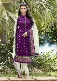 Party Wear Purple Cotton Embroidered Work Salwar Kameez