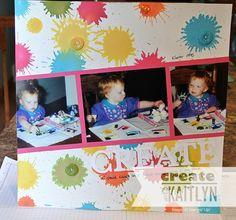 Create with Kaitlyn--create splatter with water and reinker, using a sponge dauber.