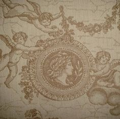 Heavy Woven Cherub Neoclassical Victorian Toile Embroidery Look Upholstery Fabric Just Arrived