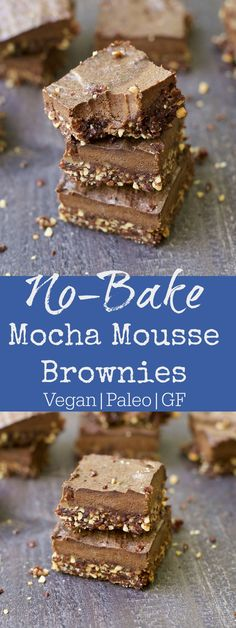 Paleo No Bake Mocha Chocolate Mousse Brownies are a more nutritious way to enjoy your chocolate! These delicious brownies have 2 layers of goodness: dense almond chocolate crust with a light chocolate mocha mousse topping. Paleo Dessert, Vegan Desserts, Fun Desserts, Dessert Recipes, Plated Desserts, Mocha Chocolate, Almond Chocolate, Brownie Recipes, Chocolate Recipes