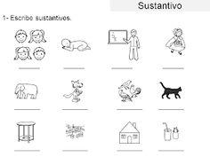 AUDICIÓN Y LENGUAJE: GRAMÁTICA ADAPTADA: EL SUSTANTIVO Math, Comics, Spanish Language, Initials, Activities, Printables, Math Resources, Comic Book, Cartoons