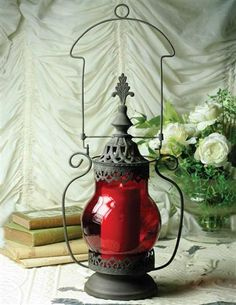 """""""Twilight Hour"""" romantic & gothic blood red lantern from Victorian Trading Co. Lantern Lamp, Red Lantern, Candle Lamp, Candle Lanterns, Solar Lights, Fairy Lights, Victorian Trading Company, Gothic House, Victorian Gothic"""