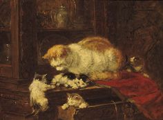 HENRIETTE RONNER-KNIP (Dutch, 1821-1909)  Cat and Kittens  signed 'Henriette Ronner' (upper right)  oil on paper on board  27 x 36 cm private collection