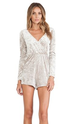 OH MY LOVE Wrap Playsuit in Stone Velvet