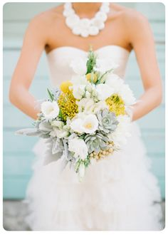Yellow and gray bridal bouquet with succulents and pincushion protea.  Bouquet by Floret Cadet, www.floretcadet.com