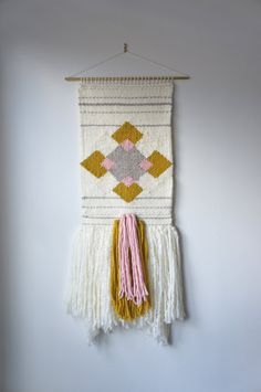 """Woven wall hanging / """"Roving Lucy"""" / tapestry / weaving / cream gray mustard-green pink yarn with long texturized roving fringe"""