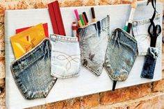 Diy Jean pockets organizer I see this more for an outside grill utensil holder