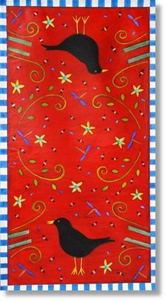 Red Birds and Dragon Flies Painted Floor Cloths, Painted Rug, Hand Painted Canvas, Painted Floors, Diy Canvas, Painted Furniture, Stenciled Floor, Drop Cloth Projects, Ceiling Murals