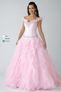 Very Beautiful Pink and White Wedding Dress