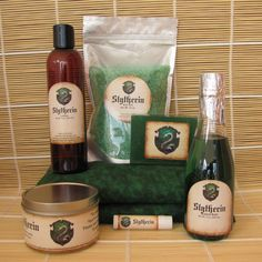 Slytherin Harry Potter Themed Deluxe Spa Gift Set - Cherry Pit Pack Heating , Bath Salt, Soy Candle, Soap, Bubble Bath,Lotion and Lip Balm by CherryPitCrafts on Etsy