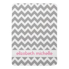 Gray Chevrons Zigzag Pattern Baby Names Receiving Blankets