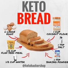 KETO BREAD Here is a delicious recipe for Keto Bread by @ruledme! . CALORIES/MACROS Makes 8 servings Keto Bread. Each serving comes out to be 134 Calories 8g Fats 3g Net Carbs and 8g Protein. . INGREDIENTS -6 large eggs at room temperature -1 cup coconut flour sifted -½ cup flaxseed meal -1 teaspoon salt -1 teaspoon baking powder -½ teaspoon baking soda -½ cup water -1 tablespoon apple cider vinegar . DIRECTIONS 1. Preheat your oven to 350F and grease pans. Then sift the coconut flour into a…