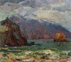 "SEASCAPE, ORIGINAL Oil PAINTING by Chebotaru A. 15,75x18,1"", European Ukrainian Art, Impressionism, Sea Coast Painting, Gift for best price"