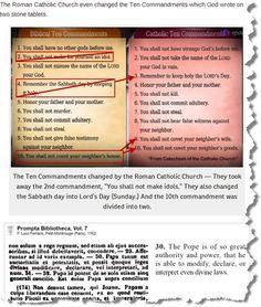 Roman Catholic Church changed the Ten Commandments