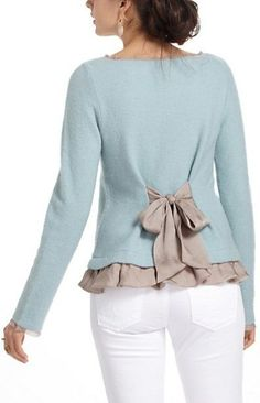 """Add sheer tie and ruffle to purchased sweater. Also about 1/2"""" of trim at end of sleeves and binding the neckline. (Anthropologie)"""