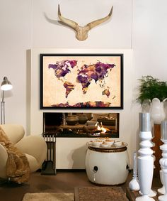 A vibrant renovation of a weatherboard home in melbourne loving this urban watercolor world map vi framed wrapped canvas by icanvasart 140 200 gumiabroncs Gallery