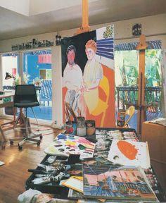 ALONGTIMEALONE: late #70s: David Hockney's studio (1983) #DavidHockney Long Road #Home #artistshomes #creativestudio #hockney