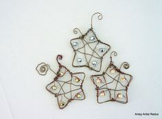 Wire star ornament set of three, upcycle beads copper wire hand crafted. $20.00, via Etsy.