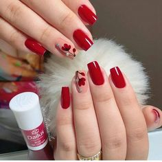 36 Gorgeous Red Nail Art Designs Just For You Shellac Nails, Pink Nails, Nail Polish, Acrylic Nails, Nail Nail, Red Nail Designs, Acrylic Nail Designs, Cute Nails, Pretty Nails