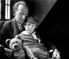 "Alan Alexander ""A. A."" Milne with his son Christopher Robin and Winnie the Pooh 1926 http://capeandislands.org/post/celebrating-winnie-poohs-90th-rare-recording-and-some-hunny"